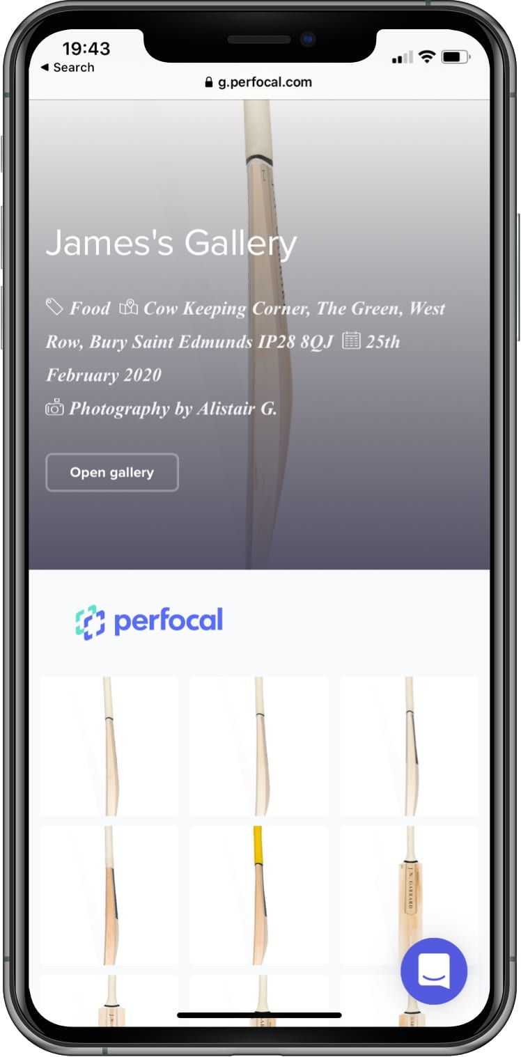 screenshot of mobile phone showing the Perfocal gallery page