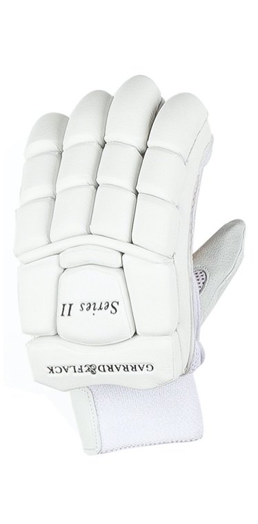 a luxurious white cricket glove on a white background