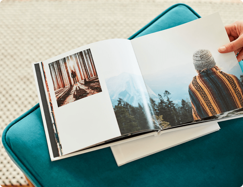 photobook on a green cushion