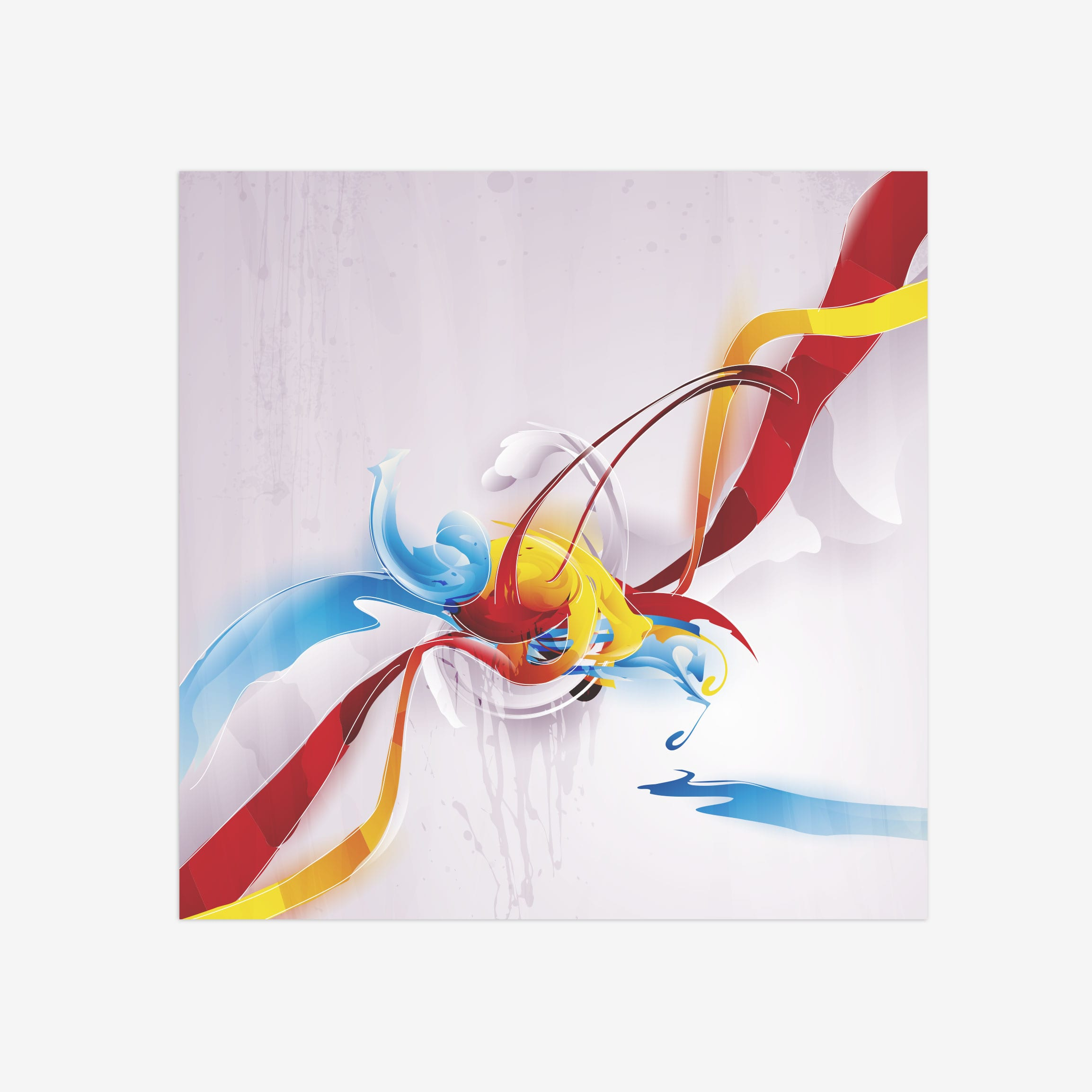 Wall mounted art canvas. The painting is of bright streak of many colors spinning from a centre point